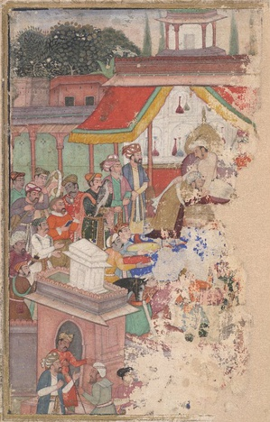 Jahangir investing a courtier with a robe of honour, watched by Sir Thomas Roe, English ambassador to the court of Jahangir at Agra from 1615 to 1618, and others