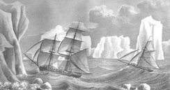 Painting of James Weddell's second expedition in 1823, depicting the brig Jane and the cutter Beaufroy