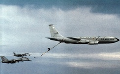 160th ARG KC-135 refuels two U.S. Navy Grumman F-14A Tomcat fighters from Fighter Squadron VF-74.