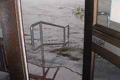 Flooding at the federal courthouse on Saint Joseph Street, three blocks from the waterfront, during Hurricane Katrina in 2005