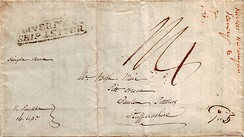 "An 1832 stampless single sheet ""Liverpool Ship Letter"" pen franked ""Paid 5"" by a U.S. postal clerk in Philadelphia, PA."