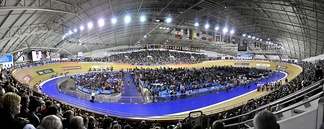 The Manchester Velodrome, a banked Siberian Pine-surfaced track, which has hosted the UCI World Championships on three occasions and home to British Cycling.