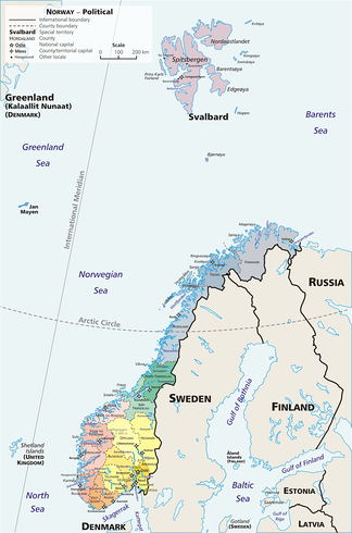 A geopolitical map of Norway, showing the 19 fylker, the Svalbard (Spitsbergen) and Jan Mayen islands, which are part of the Norwegian kingdom