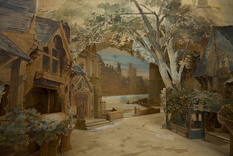 Model for the set by Charles-Antoine Cambon for Act 3 Paris 1875