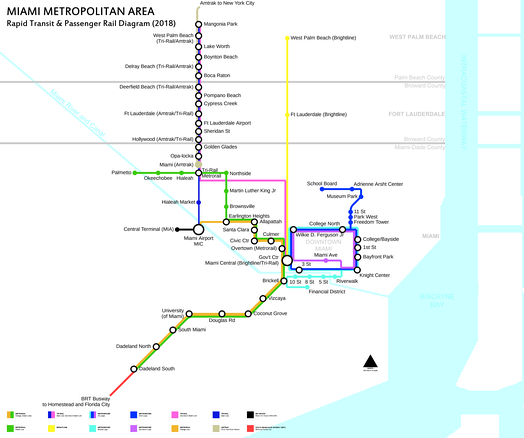 Schematic of rapid transit and passenger rail service in the Miami area in 2018. Tri-Rail's Downtown Miami Link (shown in pink) will be operational in Q3 2019.[47]