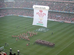 The pre-match entertainment before the Wales and Scotland match in the 2008 Six Nations Championship