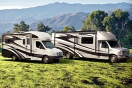 Two Class C motorhomes, built on (left) Freightliner Sprinter and (right) Ford E-Series chassis.