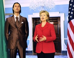 Libyan National Security Adviser Mutassim Gaddafi, a son of Colonel Gaddafi, with U.S. Secretary of State Hillary Clinton in 2009. Father and son were later executed.