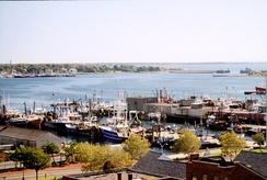 View of ships docked at New Bedford