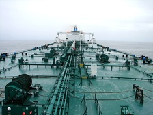 Deck of an oil tanker, looking aft