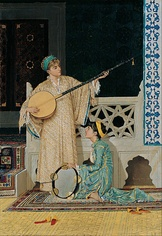 Two Musician Girls (left) and The Tortoise Trainer (right) by Osman Hamdi Bey, at the Pera Museum.