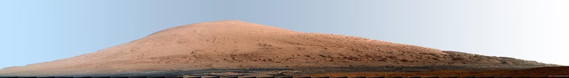 Panorama of rocks near Mount Sharp as viewed from the Curiosity Rover (September 20, 2012; white balanced; raw color).