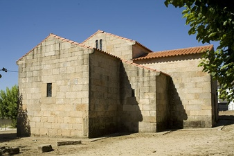 Rural church of São Pedro de Lourosa, Portugal, built in the 10th century it has the simplest type of square-shape apsidal east end.