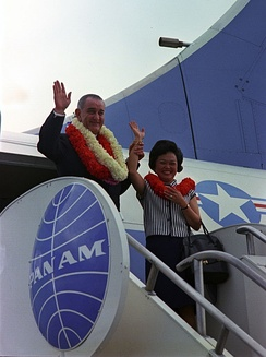 Mink with Lyndon Johnson after his trip to Hawaii for a conference on the Vietnam War, February 1966.