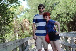 A tourist couple wearing casual clothes at Cumberland Island, 2015