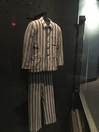 This uniform on display was worn by prisoners in Nazi concentration camps.
