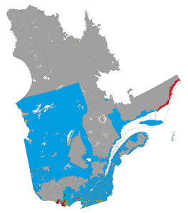 Linguistic map of the province of Quebec (source: Statistics Canada, 2006 census)   Francophone majority, less than 33% Anglophone   Francophone majority, more than 33% Anglophone   Anglophone majority, less than 33% Francophone   Anglophone majority, more than 33% Francophone   Allophone majority (indigenous)   Data not available