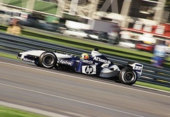 Schumacher in the FW25 at the 2003 United States Grand Prix where he qualified fifth before retiring after 21 race laps
