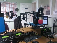 The studio at Ridge Radio in Caterham, England