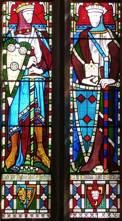 1860 imaginary depiction of Robert FitzHamon (died 1107) (left) and his younger brother Richard I de Grenville (d.post 1142) (right), Church of St James the Great, Kilkhampton, Cornwall