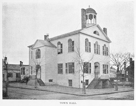 Roxbury Town Hall built in 1810, as seen in 1899