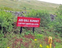 Ais Gill summit notice board in 2017 painted in quasi Midland Railway colours