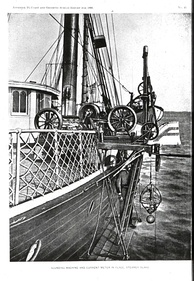 "Sigsbee Sounding Machine – invented by Charles Dwight Sigsbee and modified from Thomson Sounding Machine. Basic design of ocean sounding instruments stayed the same for the next 50 years. Here the sounding machine is used to set a Pillsbury current meter at a known depth. In: The Gulf Stream, by John Elliott Pillsbury, 1891. Note caption on photo: ""Sounding Machine And Current Meter In Place, Steamer Blake"""