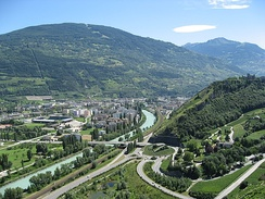 Urbanisation in the Rhone Valley (outskirts of Sion)