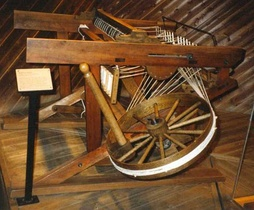 Model of the spinning jenny in a museum in Wuppertal. Invented by James Hargreaves in 1764, the spinning jenny was one of the innovations that started the revolution.