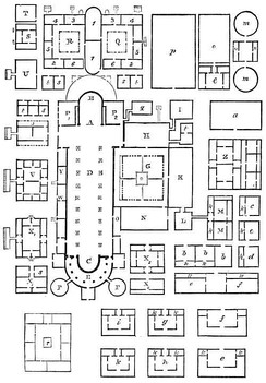 The Plan of Saint Gall, the ground plan of an unbuilt abbey, providing for all of the needs of the monks within the confines of the monastery walls