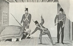 A propaganda cartoon of the arrest of Governor William Bligh during the Rum Rebellion of 1808.