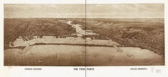 1915 Panoramic map of the Twin Ports, Superior on the left and Duluth on the right, by Henry Wellge