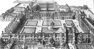 David Loggan's print of 1690 showing Nevile's Great Court (foreground) and Nevile's Court with the then-new Wren Library (background) – New Court had yet to be built