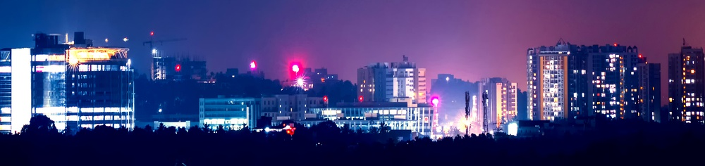 View of Technovalley, in the north western part of the city at night.