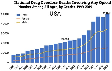 Timeline of yearly U.S. deaths from all opioid drugs. Included in this number are opioid analgesics, along with heroin and illicit synthetic opioids.[4]