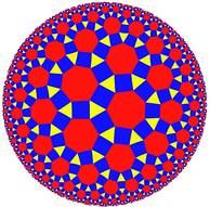 Rhombitriheptagonal tiling in hyperbolic plane, seen in Poincaré disk model projection