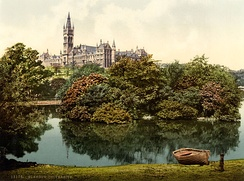The new buildings of the University of Glasgow at Gilmorehill, circa 1895.