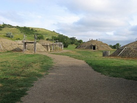 Partially rebuilt Mandan Village On-a-Slant, in Fort Abraham Lincoln State Park outside Bismarck