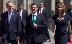 New Zealand Prime Minister John Key on an official visit to Mexico alongside Mexican President Enrique Peña Nieto; 2013.