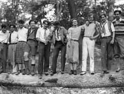 Orson Welles (fourth from left) with classmates at the Todd School for Boys (1931)