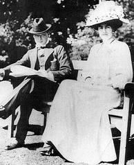 Churchill and his fiancée Clementine Hozier shortly before their marriage in 1908.