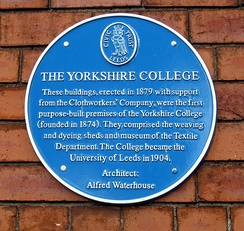 Yorkshire College blue plaque 1879