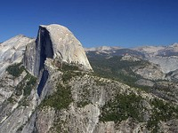 Half Dome, Yosemite National Park, a classic granitic dome and popular rock climbing destination