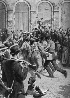 Rioters breaking into a parish prison during anti-Italian lynchings in New Orleans, Louisiana, in 1891