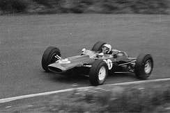 Richard Attwood in Reg Parnell Racing privately entered Lotus 25 at the 1965 German Grand Prix.