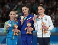 Victory ceremony (from left to right): Khrystyna Pohranychna (Silver), Daria Trubnikova (Gold), Talisa Torretti (Bronze)