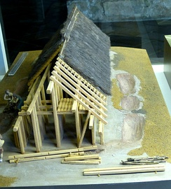Kelheim (Lower Bavaria). Archaeological Museum: Reconstruction of a settlement of the Linear pottery culture ( 5th millennium BC ) from Hienheim