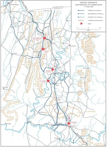 ATLANTA CAMPAIGN, Union advance: Chattanooga to Etowah (May 7–19, 1864).