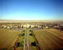 1973 aerial view of Fitzsimons Army Hospital in Aurora, before closure