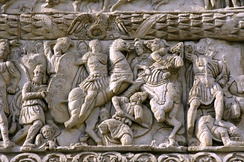 Detail of Galerius attacking Narseh on the Arch of Galerius at Thessaloniki, Greece, the city where Galerius carried out most of his administrative actions[149]